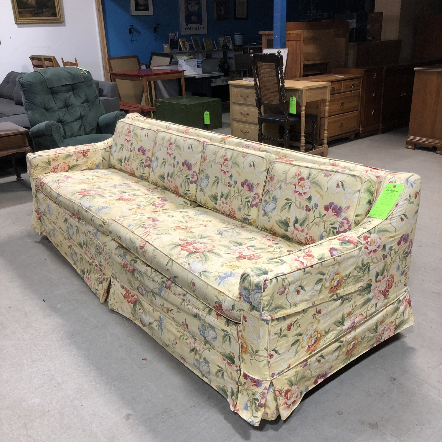 Vintage Yellow Floral Sofabed