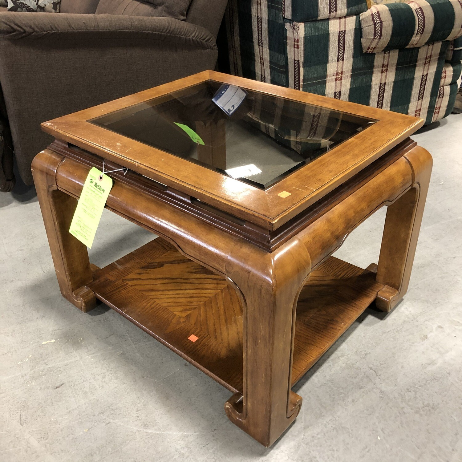 Wooden End Table with Glass Top
