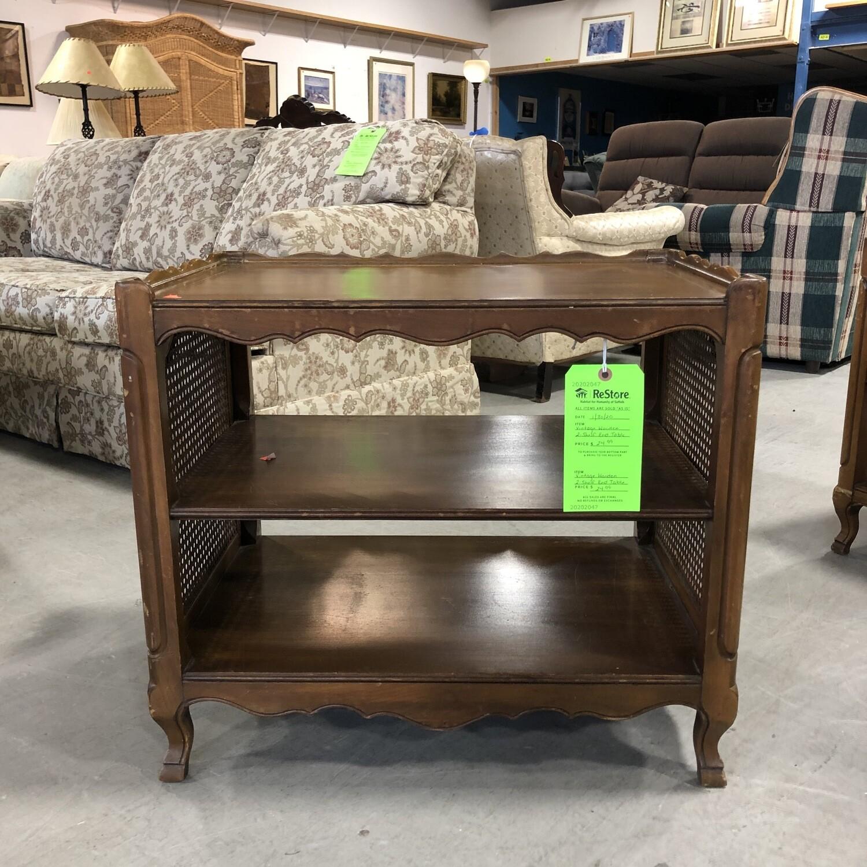 Vintage Wooden 2-Shelf End Table