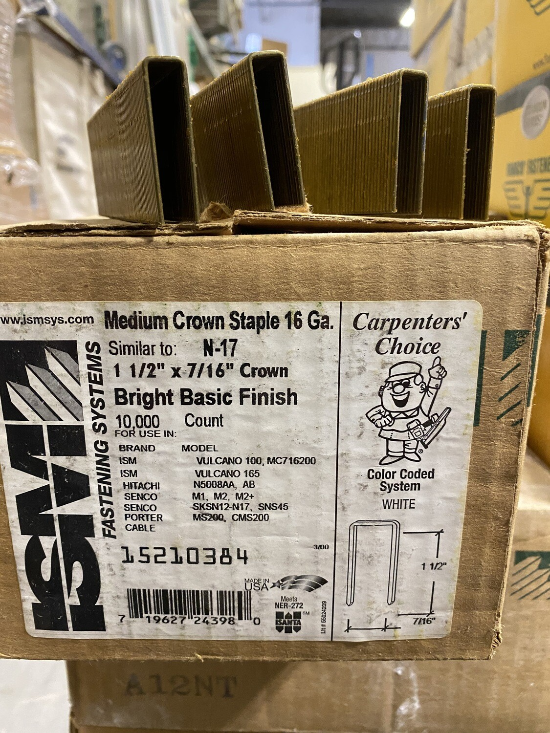 "1 ½' x 7/16"" Crown Staples - Bright Finish"