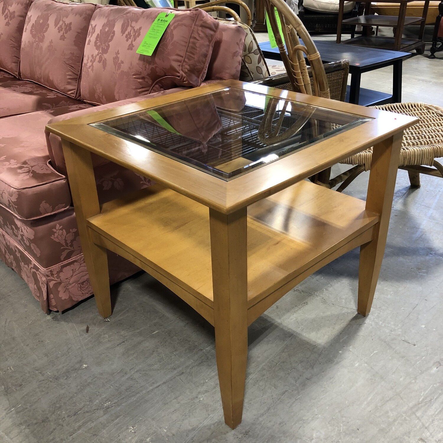 Light Wood End Table with Glass Top