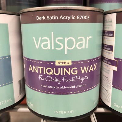 Valspar Step 3 Antiquing Wax – Dark Satin Acrylic –Pint