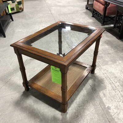 Vintage Wooden End Table with Glass Top