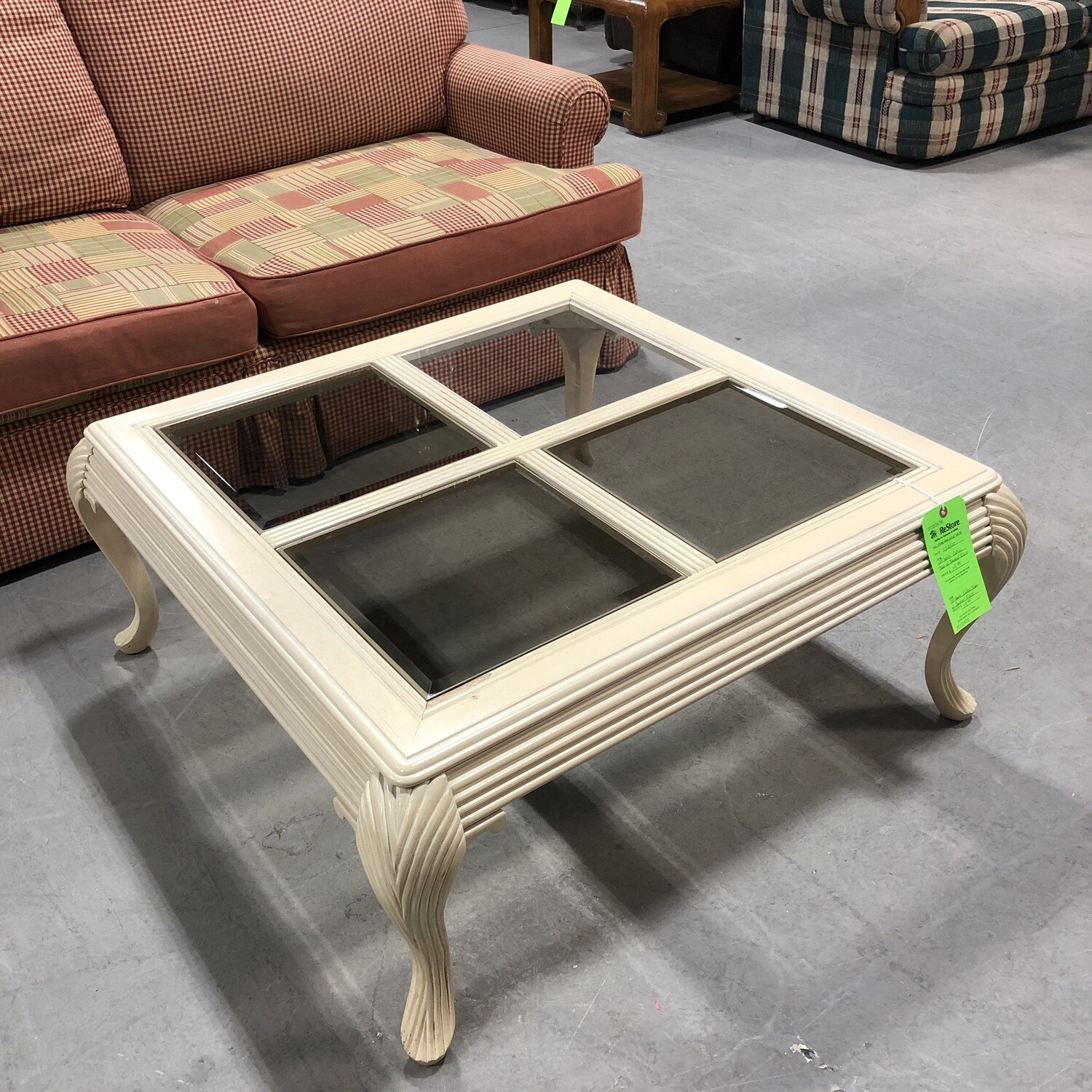Off-White Coffee Table with Smoked Glass