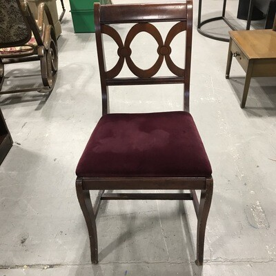Vintage Wooden Chair w/Velvet Padded Seat 2