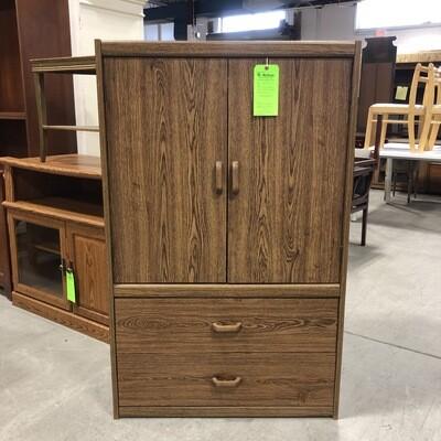 Faux Wood Veneer Entertainment Cabinet
