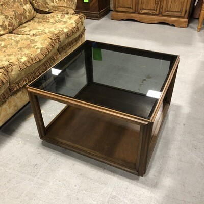 Mid-Century Square Wooden Coffee Table w/Smoked Glass