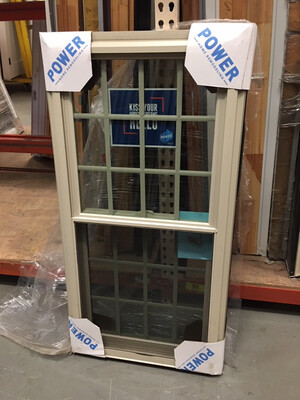 Almond Double Hung Windows with ½ screens