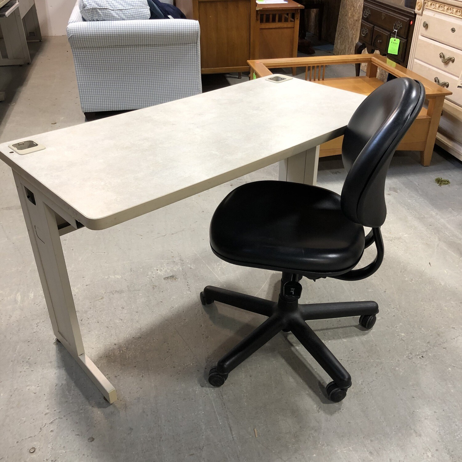 Work-From-Home Computer Desk and Rolling Chair Combo