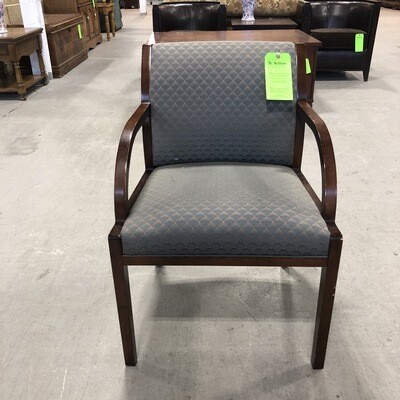 Wooden Framed Chair with Blue Upholstery