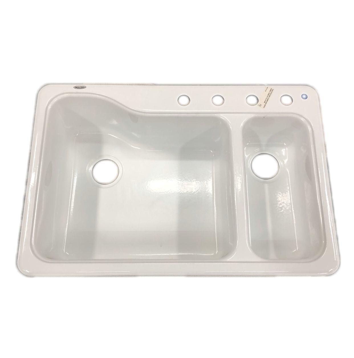 "American Standard Silhouette Dual Level 33"" x 22"" Drop-in Kitchen Sink"
