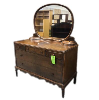 Antique Wooden Dresser with Mirror