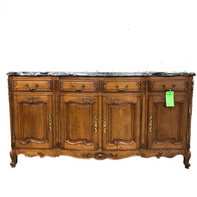 Antique Solid Oak Server with Stone Top