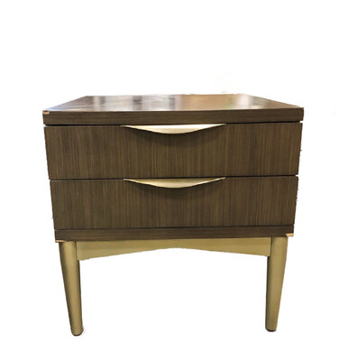 Rachel Ray Home Grey Nightstand with Gold Metal Legs