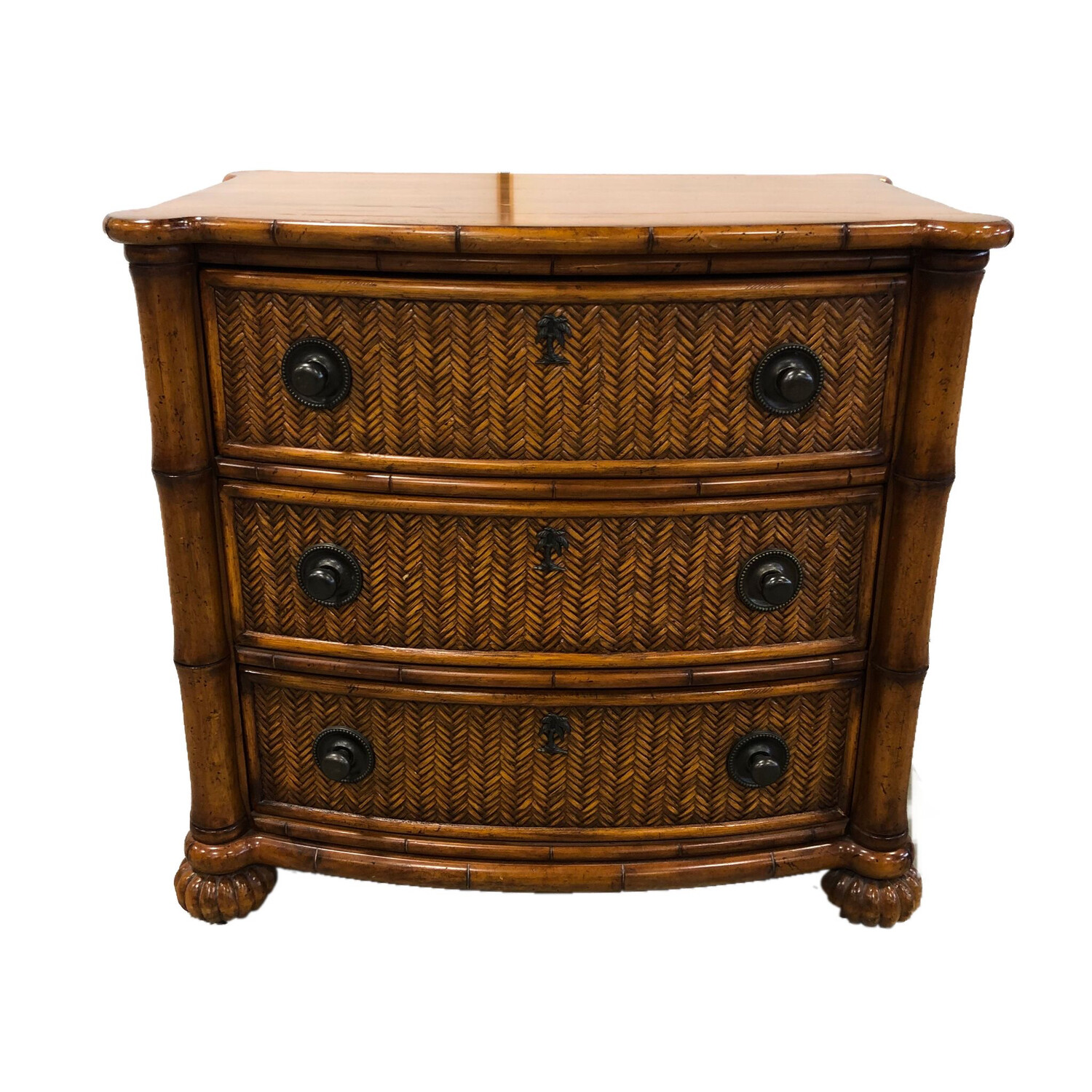 Tommy Bahama for Lexington Furniture 3-Drawer Wicker and Wood Nightstand