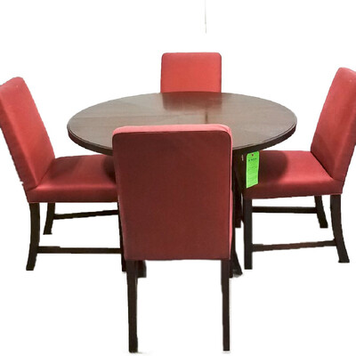Dark Wood Round Table w/4 Red Cushioned Chairs