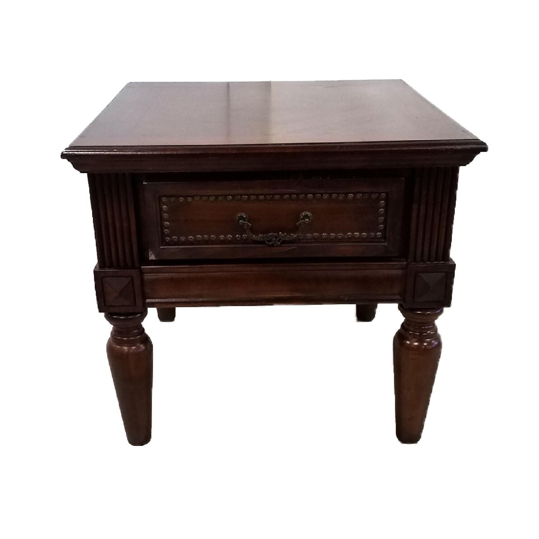 Dark Wood Side Table w/Drawer