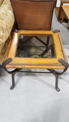 Belt Detail Wood & Glass Side Table