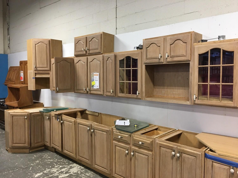Refinished Frosted Oak Kitchen Cabinet Set