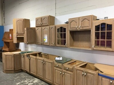 Refinished Frosted Oak Kitchen Cabinet Set
