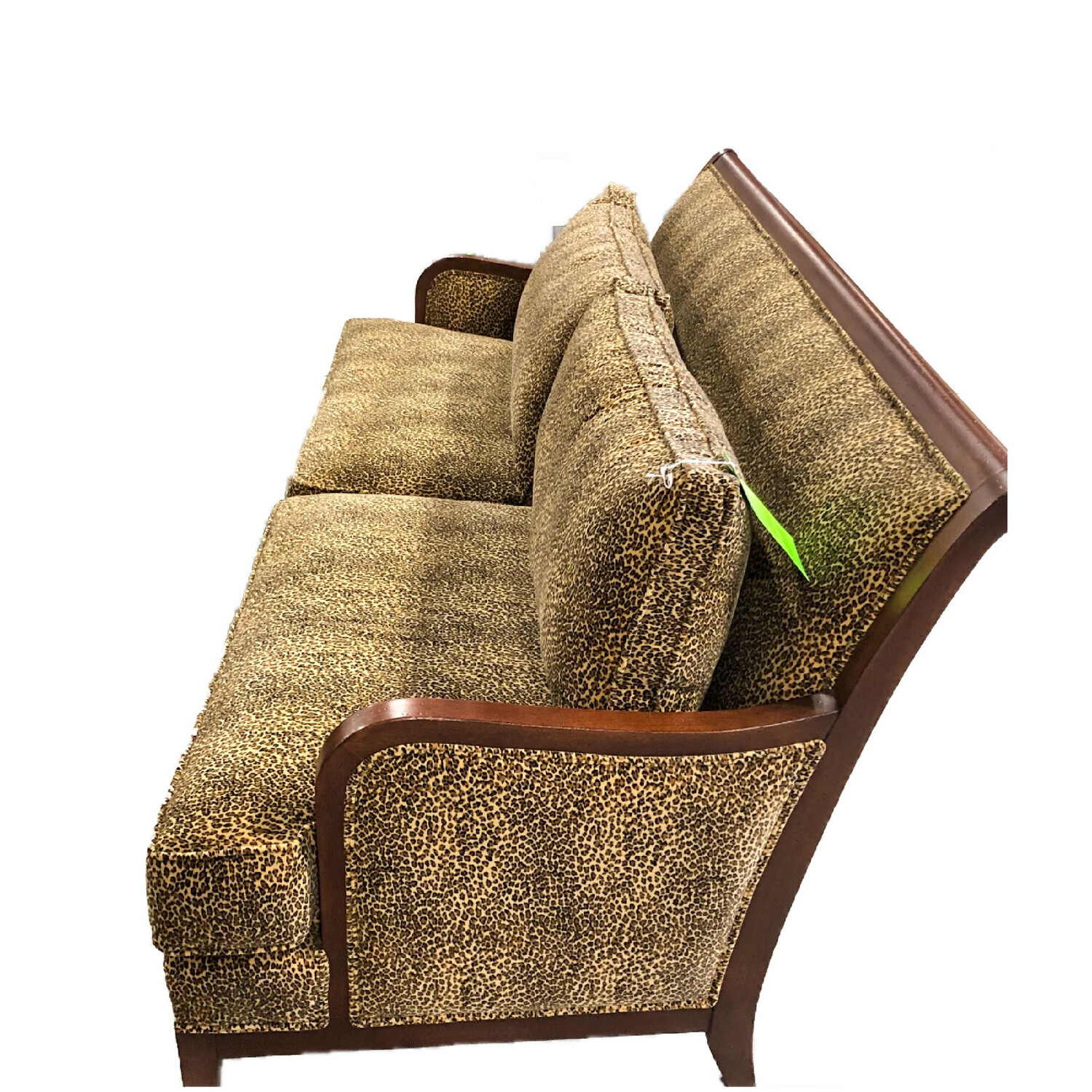 Ethan & Allen Leopard Print Couch with wood trim