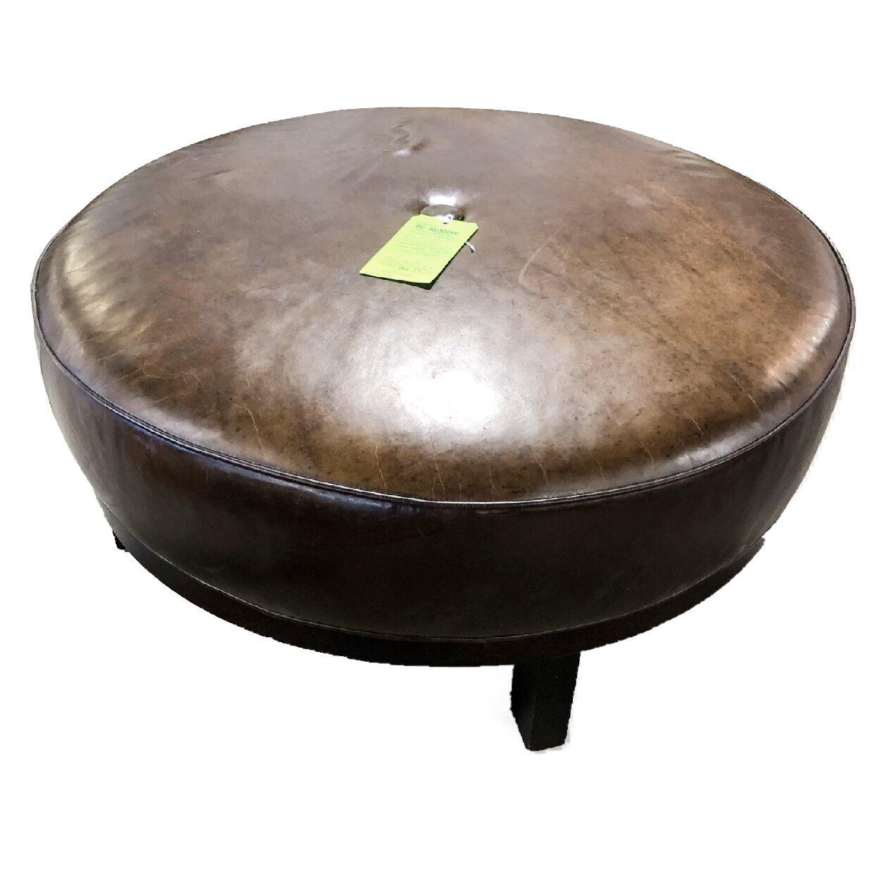 Crate & Barrel Leather Ottoman