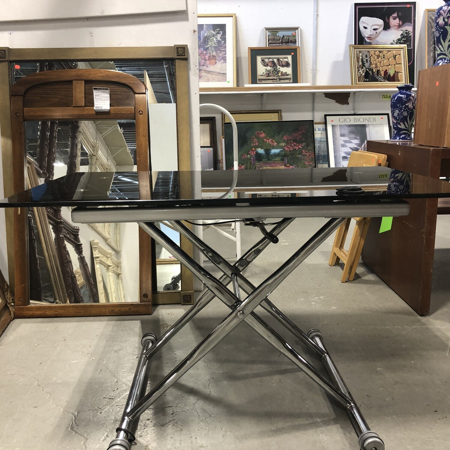 Chrome & Glass Adjustable Desk