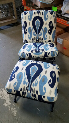 Navy Blue Metal Frame Chair with Footstool