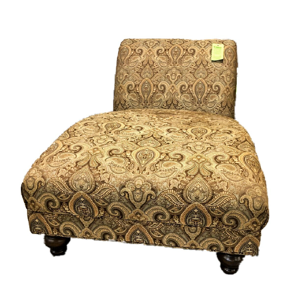 Brown & Gold Paisley Chaise