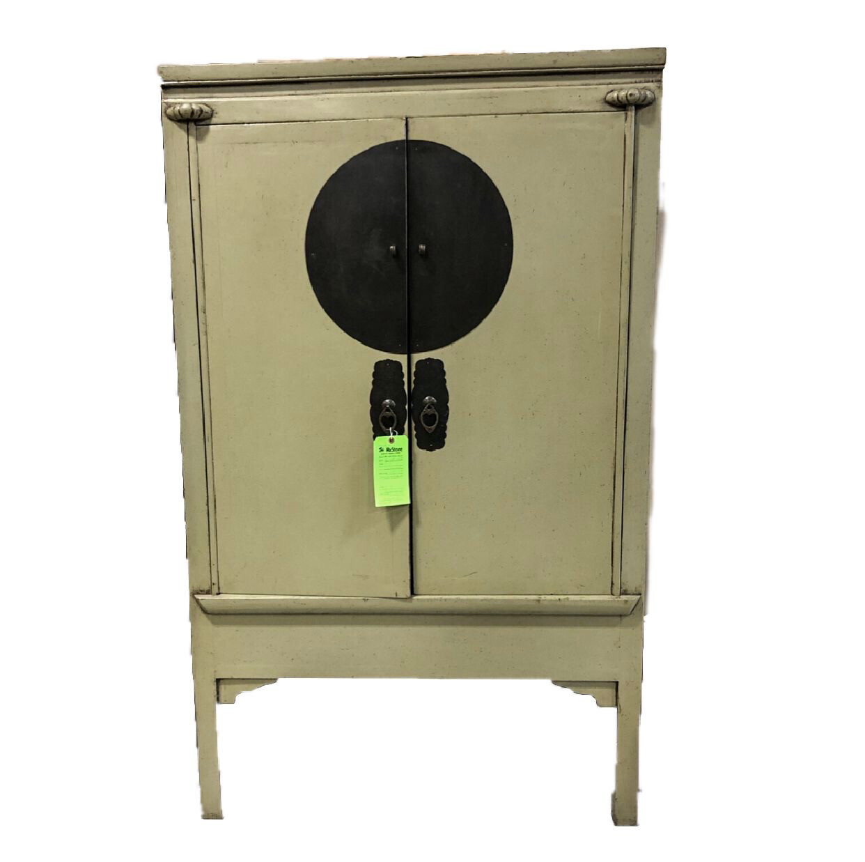 Antique Green Cabinet with Metal Accents