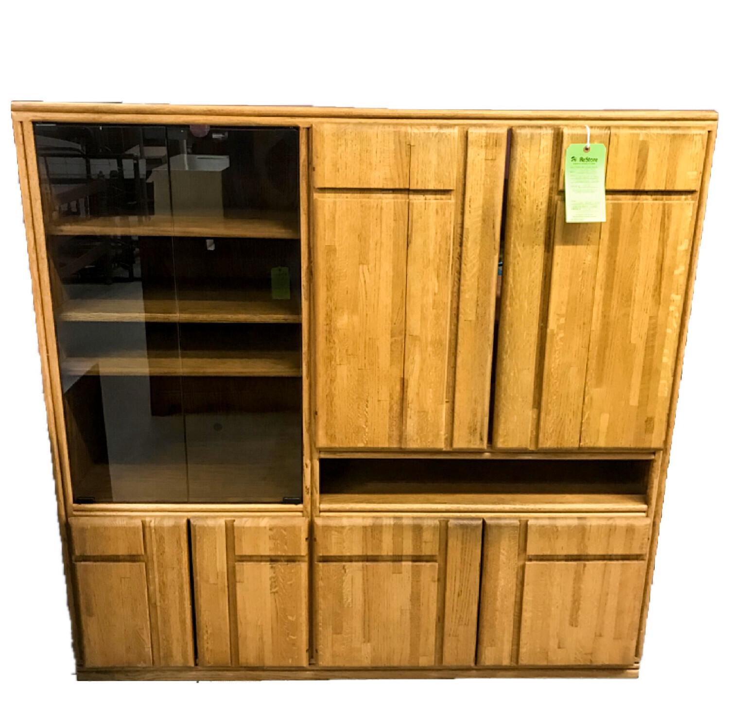 Light Wood and Glass Entertainment Center