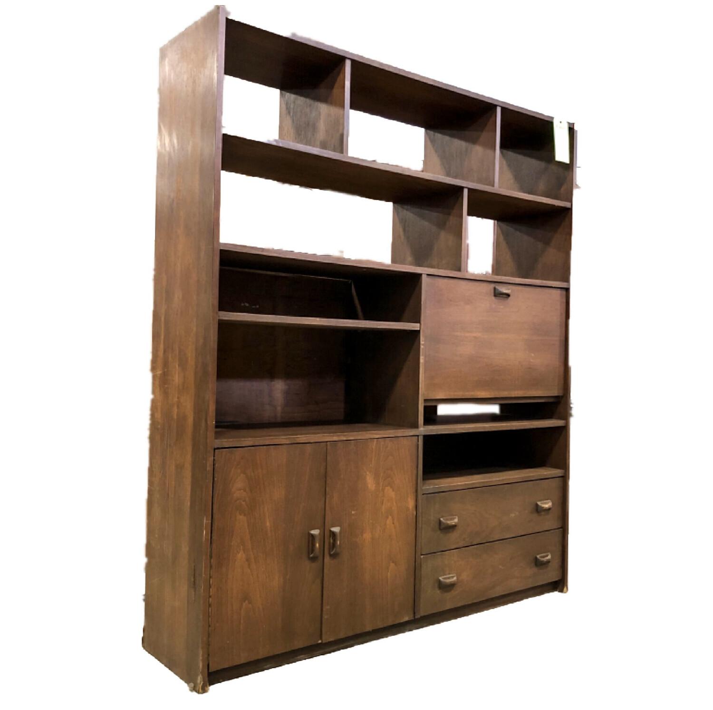 Vintage Wood Veneer Shelving Unit