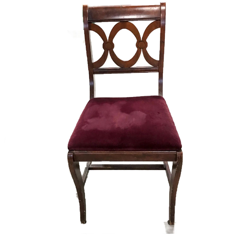 Vintage Wooden Chair w/Velvet Padded Seat