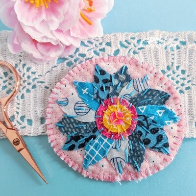 Pink and blue flower textile brooch