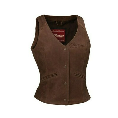 VINTAGE LEATHER VEST BROWN WOMENS
