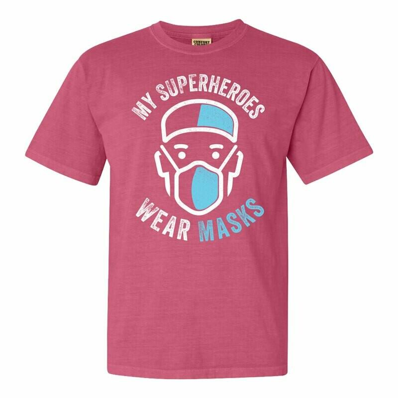 My Superheroes Wear Masks Adult Tee - Crunchberry