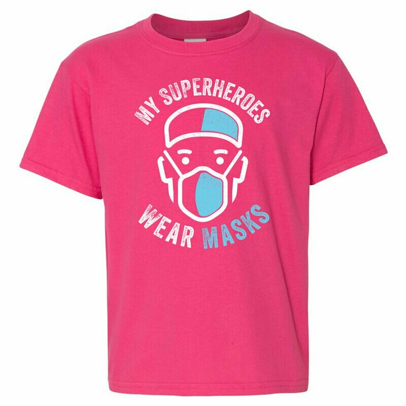 Youth Tee - My Superheroes Wear Masks - Pink