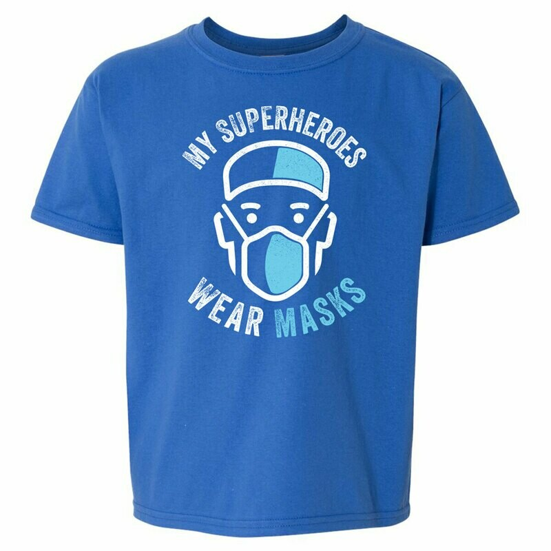 Youth Tee - My Superheroes Wear Masks - Blue