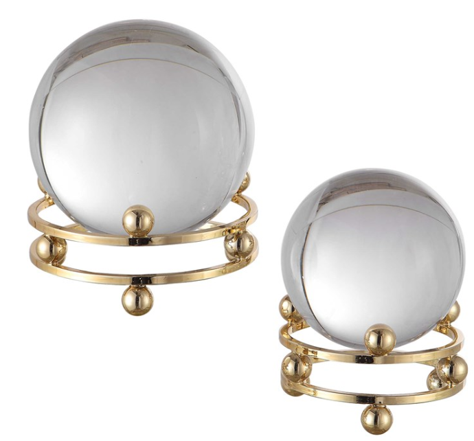 Crystal Ball On Brass Stand