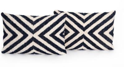 Navy & Cream Rectangular Pillow
