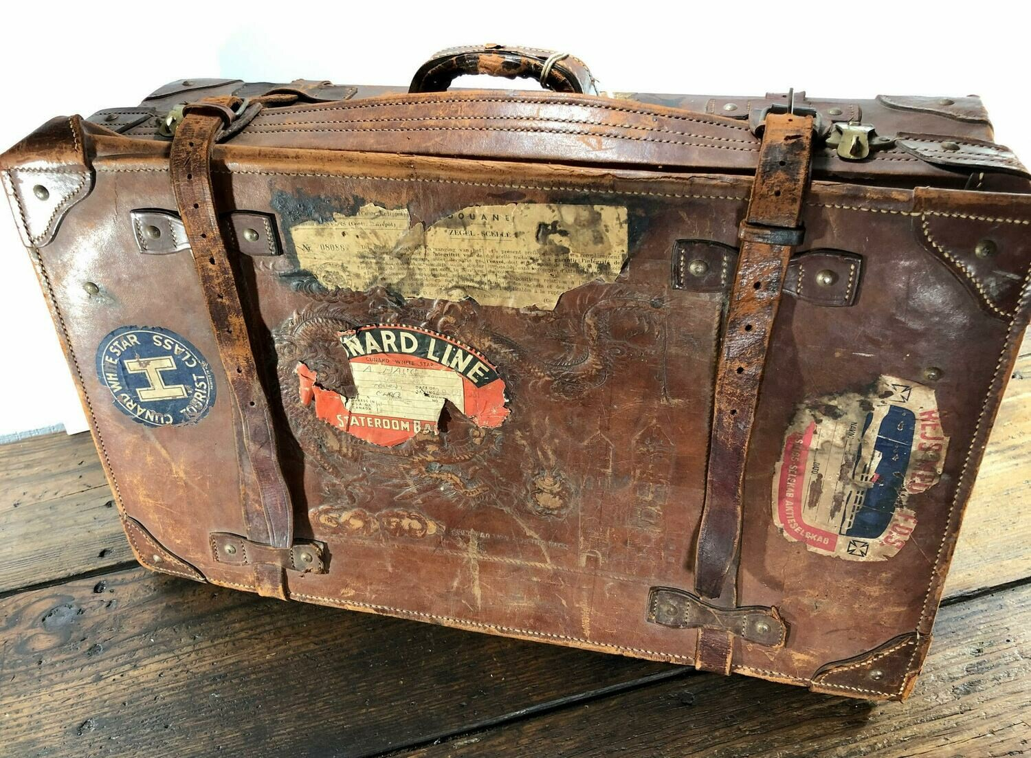 Vintage Leather Suitcase w/stickers