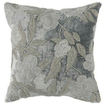 Gray Embroidered Flower 18x18 Pillow