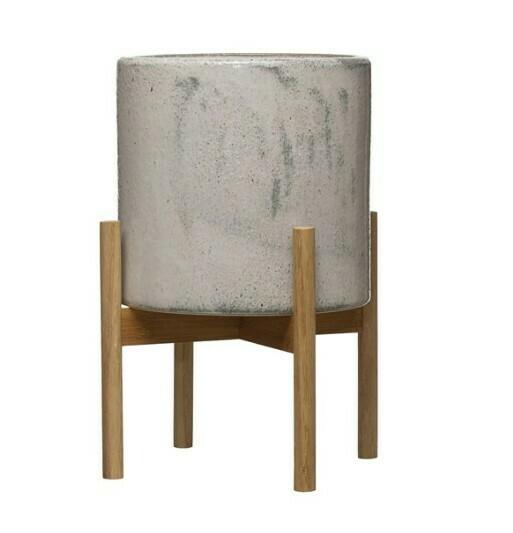 Stoneware Planter On Wood Stand