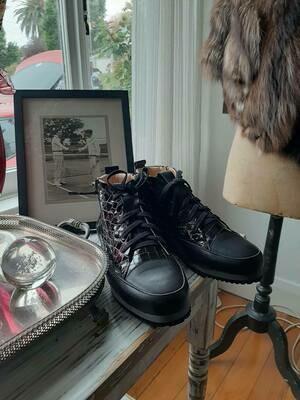 Black patent croc boot