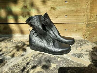 Double Zip Pewter Ankle boot