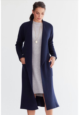 Mia Cashmere Coat - Navy