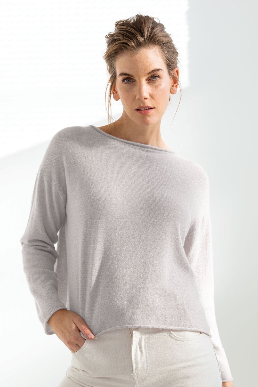 Mia Reversible Button Cardi Light Grey
