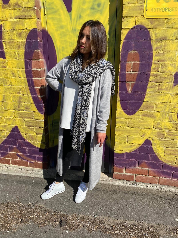 Long Cashmere Cardi Light Grey