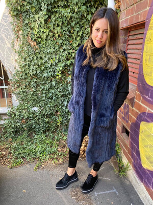 Fur Vest French Navy