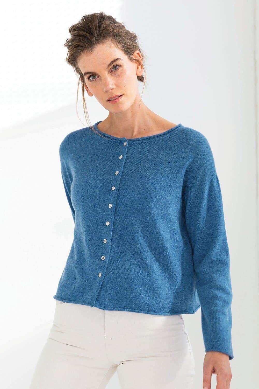Mia Reversible Button Cardi Blue